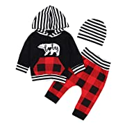 Toddler Infant Baby Boys Clothes Bear Printed Long Sleeve Hoodie Tops Sweatshirt Leggings Pants Outfits Set 0-3 Months Red