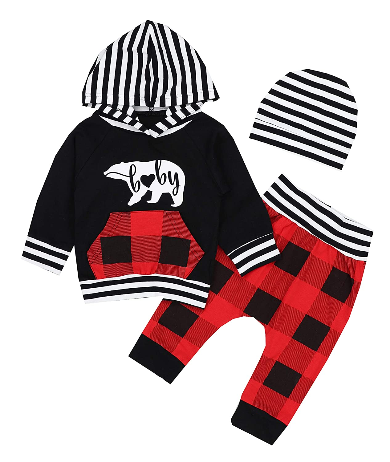 Newborn Baby Boys Girls Clothes Long Sleeve Striped Bear Hoodie Sweatsuit Pocket Tops Plaid Long Pants Winter Outfit Sets AGAPENG