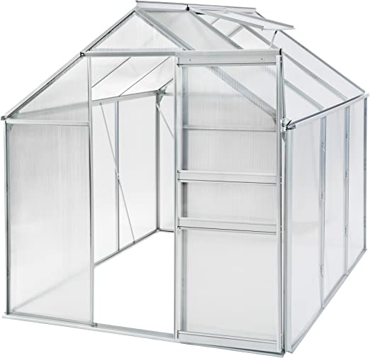 TecTake Invernadero de jardín policarbonato Aluminio con Ventana casero Plantas Cultivos - Varios Modelos - (190x190x195cm | sin Base | no. 401826): Amazon.es: Jardín