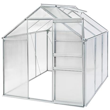 TecTake 800285 - Invernadero de Jardín, Estructura Aluminio y Policarbonato con Ventana, Ideal Plantas