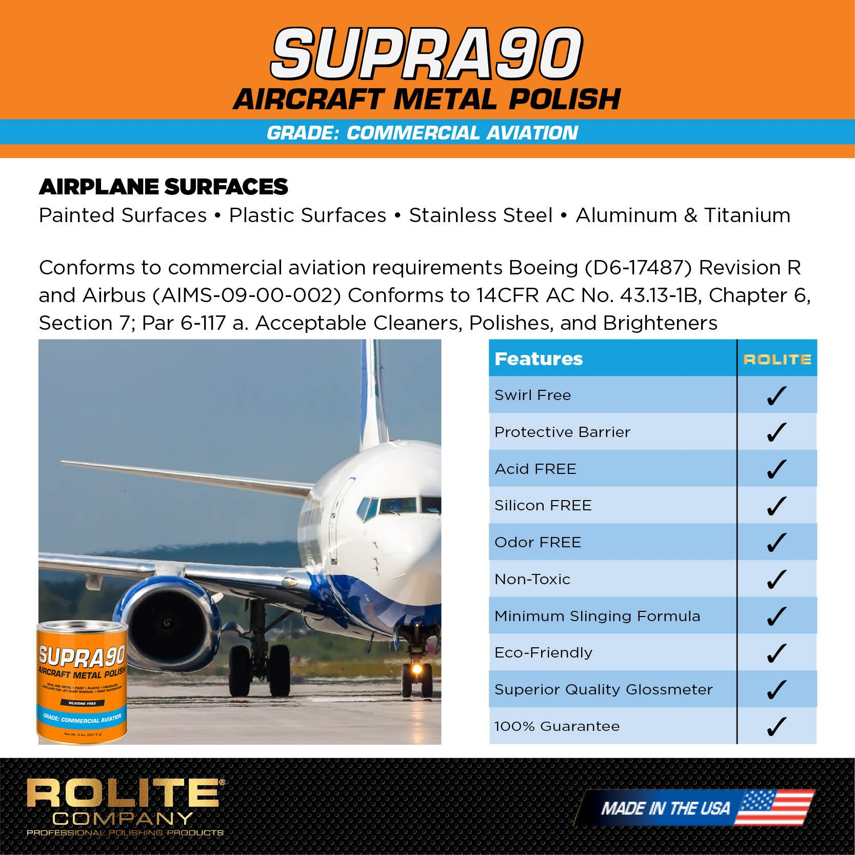 Supra90 Aircraft Metal Polish (4.5oz) for Airplane Painted Surfaces - Removes Jet Blast & Fuel Stains, Meets Boeing and Airbus Requirements