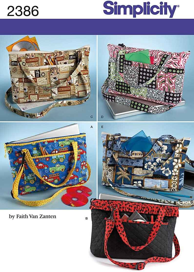 Simplicity Sewing Pattern 2386 Laptop Totes, One Size