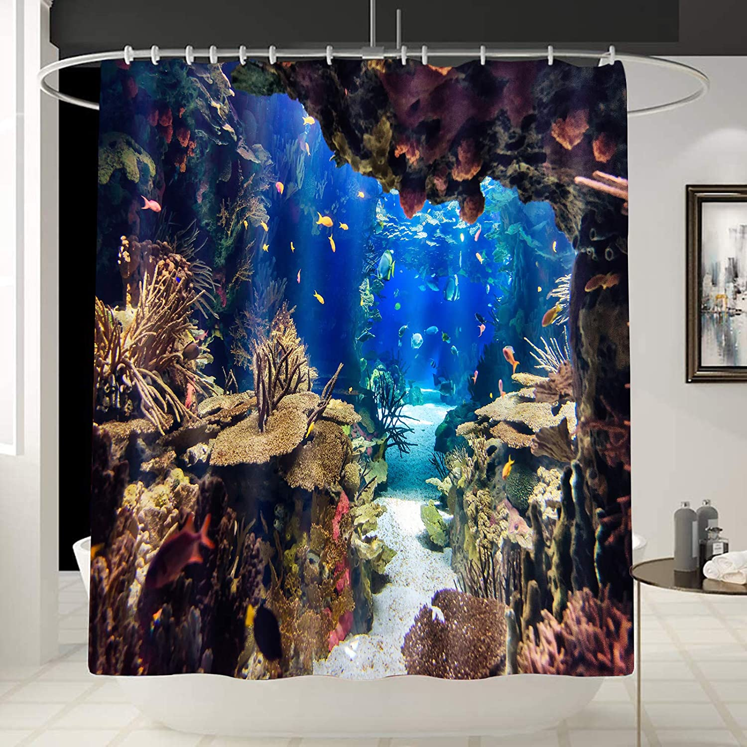 Fishing Theme Decor Underwater World Shower Curtain Liner, Coral Reef Art Tropical Undersea /Aquarium Pattern Curtain for Bathroom/Washroom with 12 Hooks Waterproof,Gift for Man/Girl 70x 70 Inches