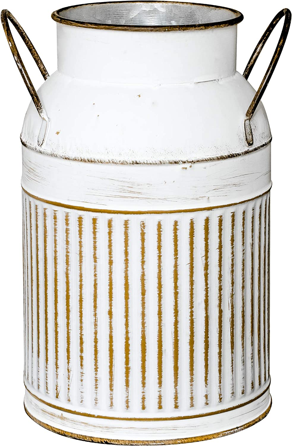 Soyizom Galvanized Decorative Vase with Vertical Straight Line Design Vase Primitive Country Tin Bucket Plant Pots Planters Decor Vase with Handle suitable for Artificial Dry Flower Indoor Outdoor-Can