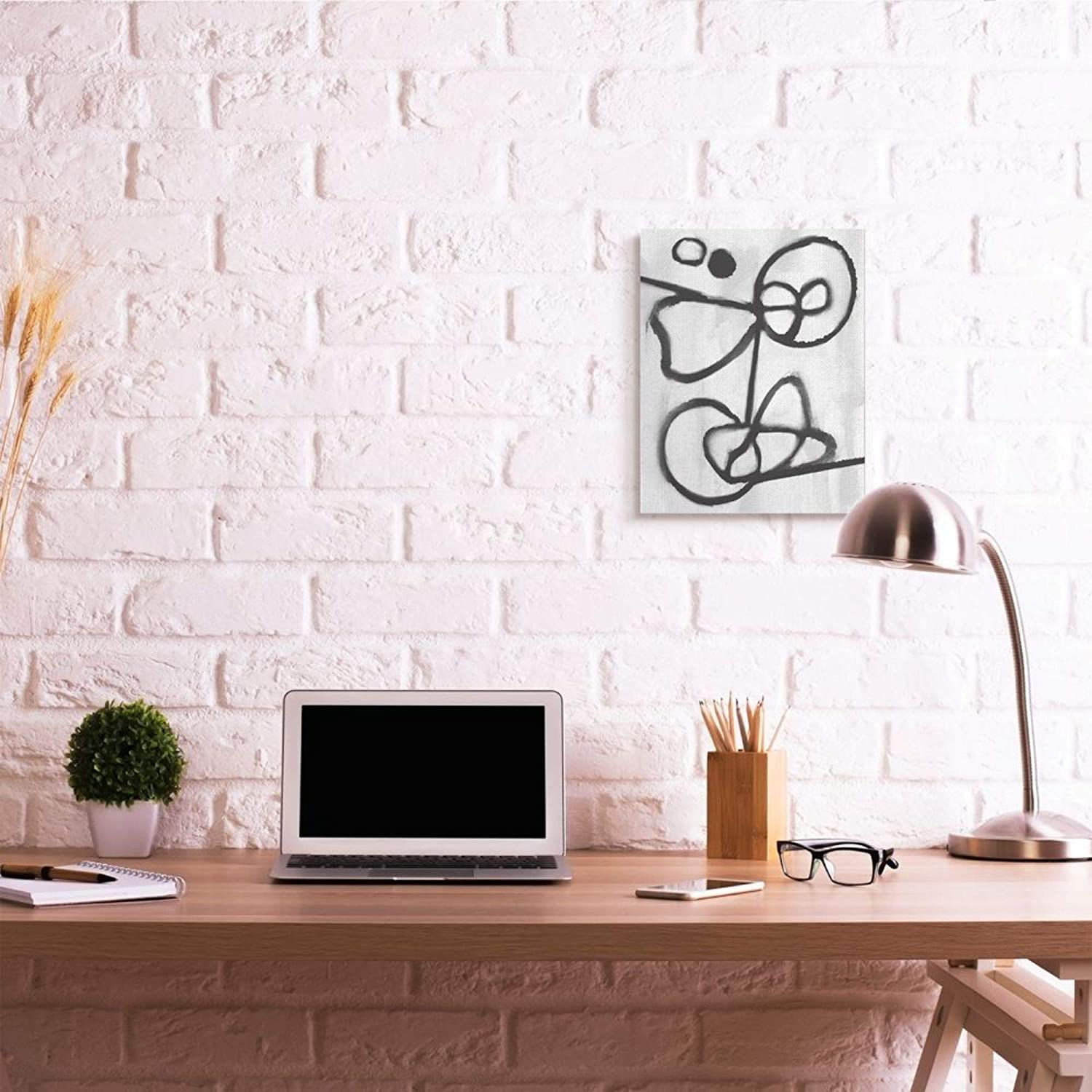 16 x 20 Stupell Industries Abstract Linework Organic Shapes Black White Canvas Daphne Polselli Wall Art