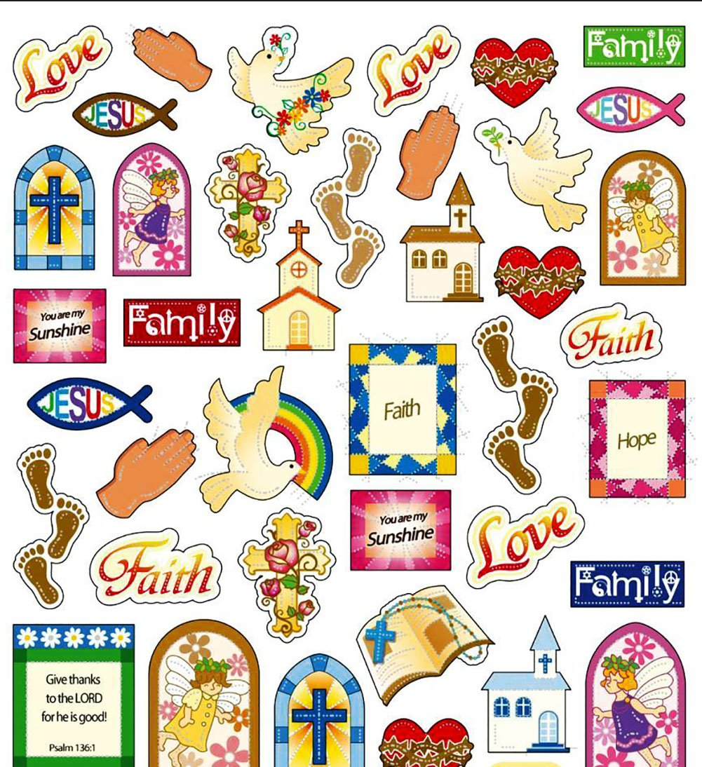 Custom to 1 inch 45 piece pack of mid size stickers for arts crafts scrapbooking w multiples of cute new cartoon religious church