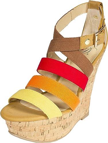 Strappy Platform Cork Wedge Sandals