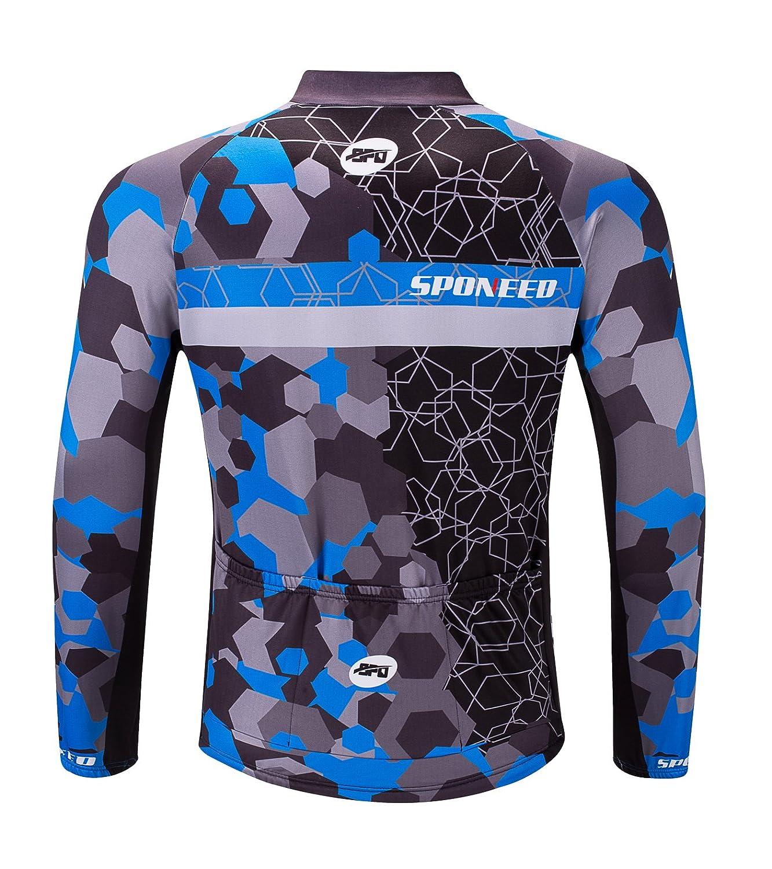 544ae9dd4f4 Amazon.com   sponeed Men s Bicycle Shirts Long Sleeve Biker Jerseys Full  Zipper Winter Cycling Gear Breathable   Sports   Outdoors