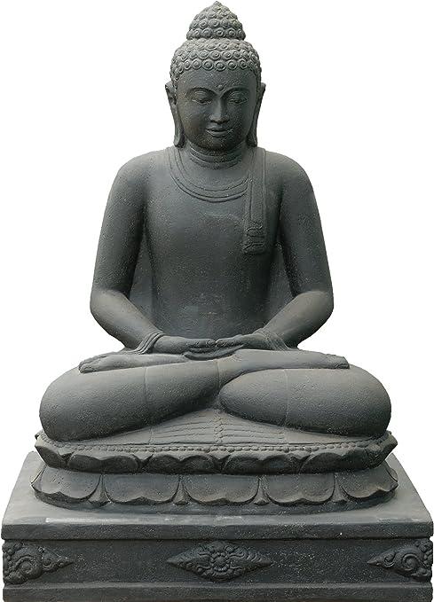 Figura de Buda XXL grande para jardín, piedra volcánica, Buda de piedra, sentado, escultura de piedra, grande, resistente a las heladas: Amazon.es: Hogar