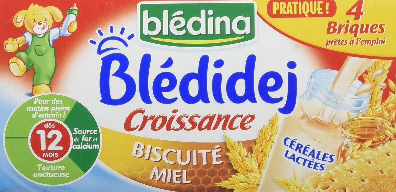 Blédina Blédidej Croissance Céréales Lactées Biscuité Miel dès 12 mois 4 x 250 ml - Pack de 3 BLEDINA 3041090650109