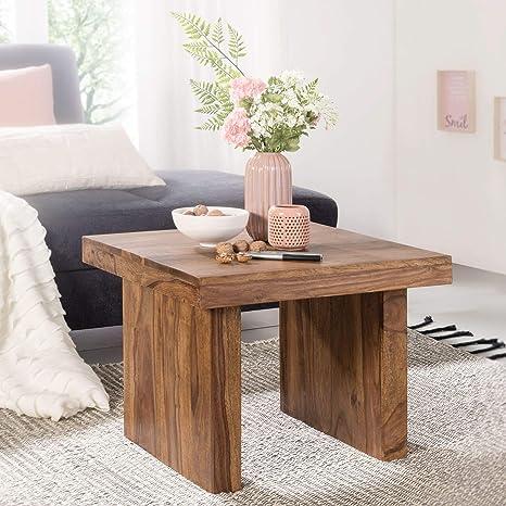 WOHNLING Beistelltisch Massiv-Holz Sheesham 60 x 60 cm ...