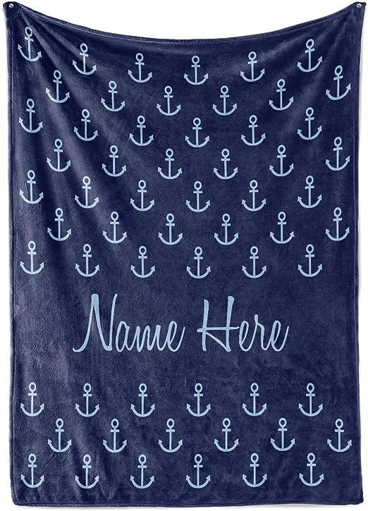 Personalized Monogrammed Large Textured Velvet Plush Blanket Ultra Soft 50 x 60