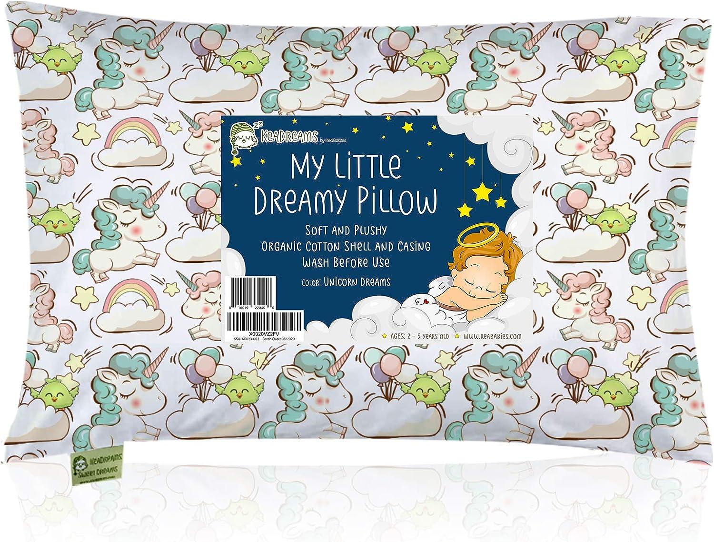 Almohada para niños con funda - Almohada para bebés de algodón orgánico suave 13x18 para dormir - Lavable e Respirable - Niños, bebés y recién nacidos - Perfecto para viajar (Unicorn Dreams)