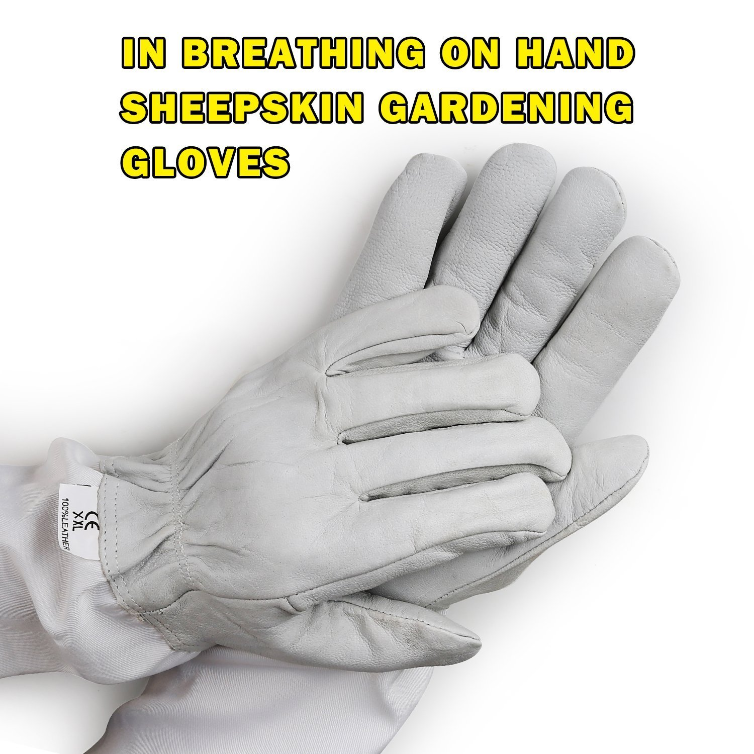 Aspectek Beekeeping Gloves, Goatskin made- XXL Size- Protective Vented Sleeves & Sting proof cuffs - durable Long Thick Sleeves VDTAZ019A