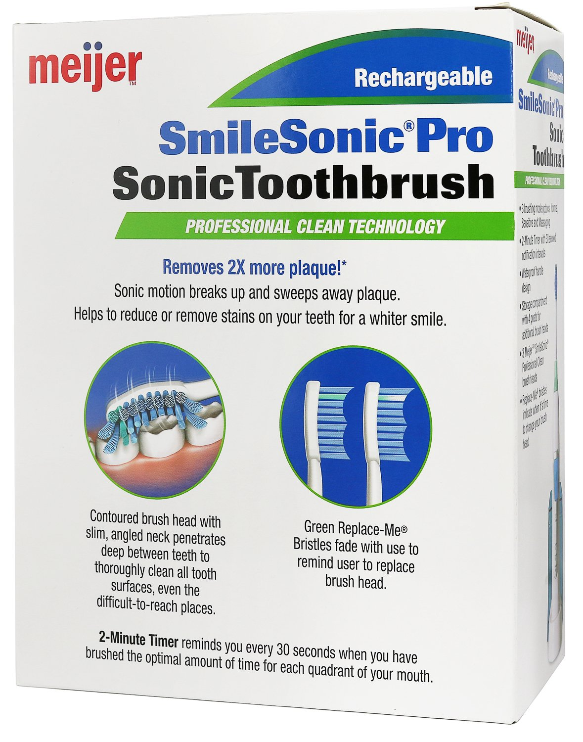 Amazon.com: Meijer Sonic Pro Rechargeable Electric Toothbrush, 3 ...
