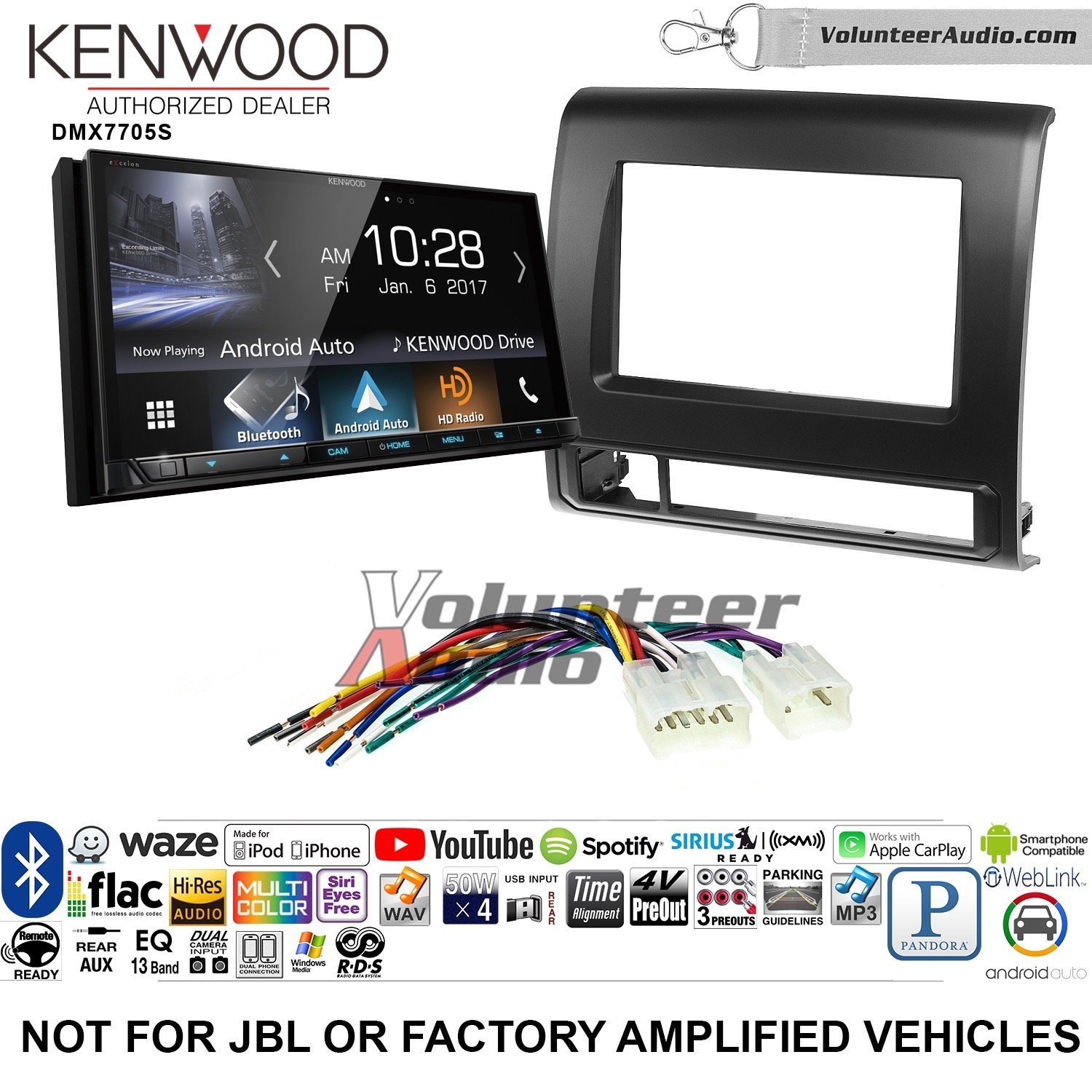 Volunteer Audio Kenwood DMX7705S Double Din Radio Install Kit with Apple CarPlay Android Auto Bluetooth Fits 2012-2015 Non Amplified Toyota Tacoma