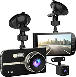 "Full HD 1080P Dash Cam Front and Rear 290 Degree Super Wide Angle Car Camera Recorder 4.0"" Screen Dash Camera for Cars with G-Sensor Motion Detection Parking Mode etc"