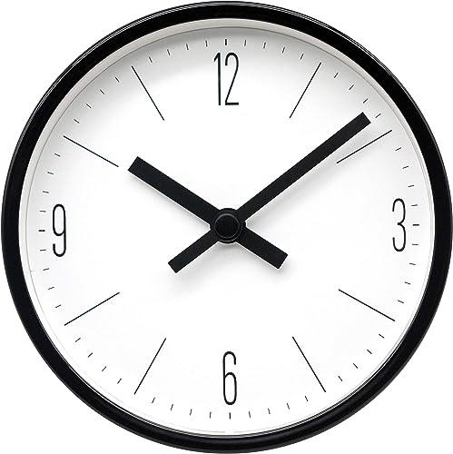 COMODO CASA Wall Desk Clock- Metal Black Frame-Glass Cover-Non Ticking-Quartz Sweep-Silent 6 inch Retro Clock,White Type D