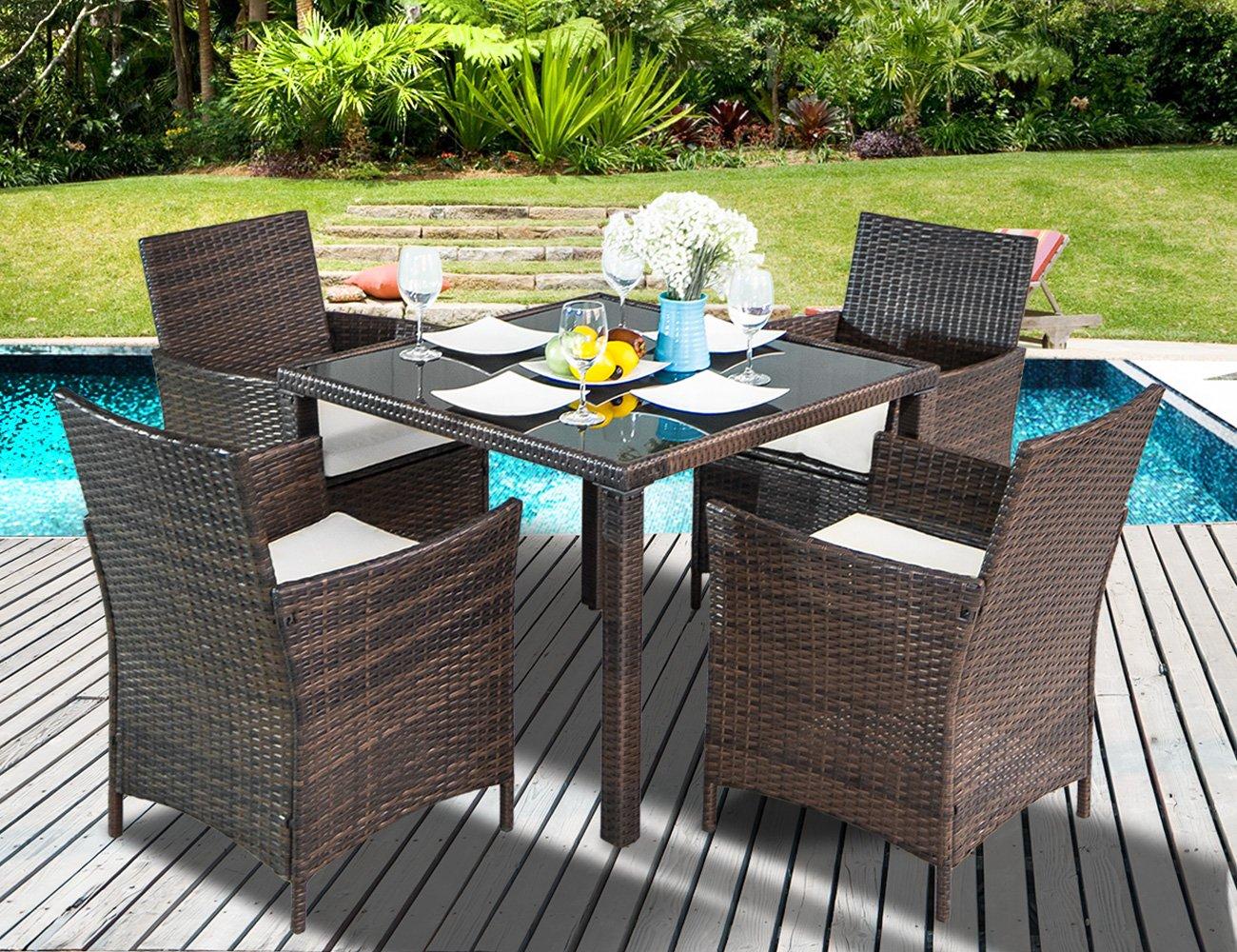 Leisure Zone 5-Piece Outdoor PE Rattan Wicker Patio Dining Table Set Garden Outdoor Patio Furniture Set (5-Piece, Brown)