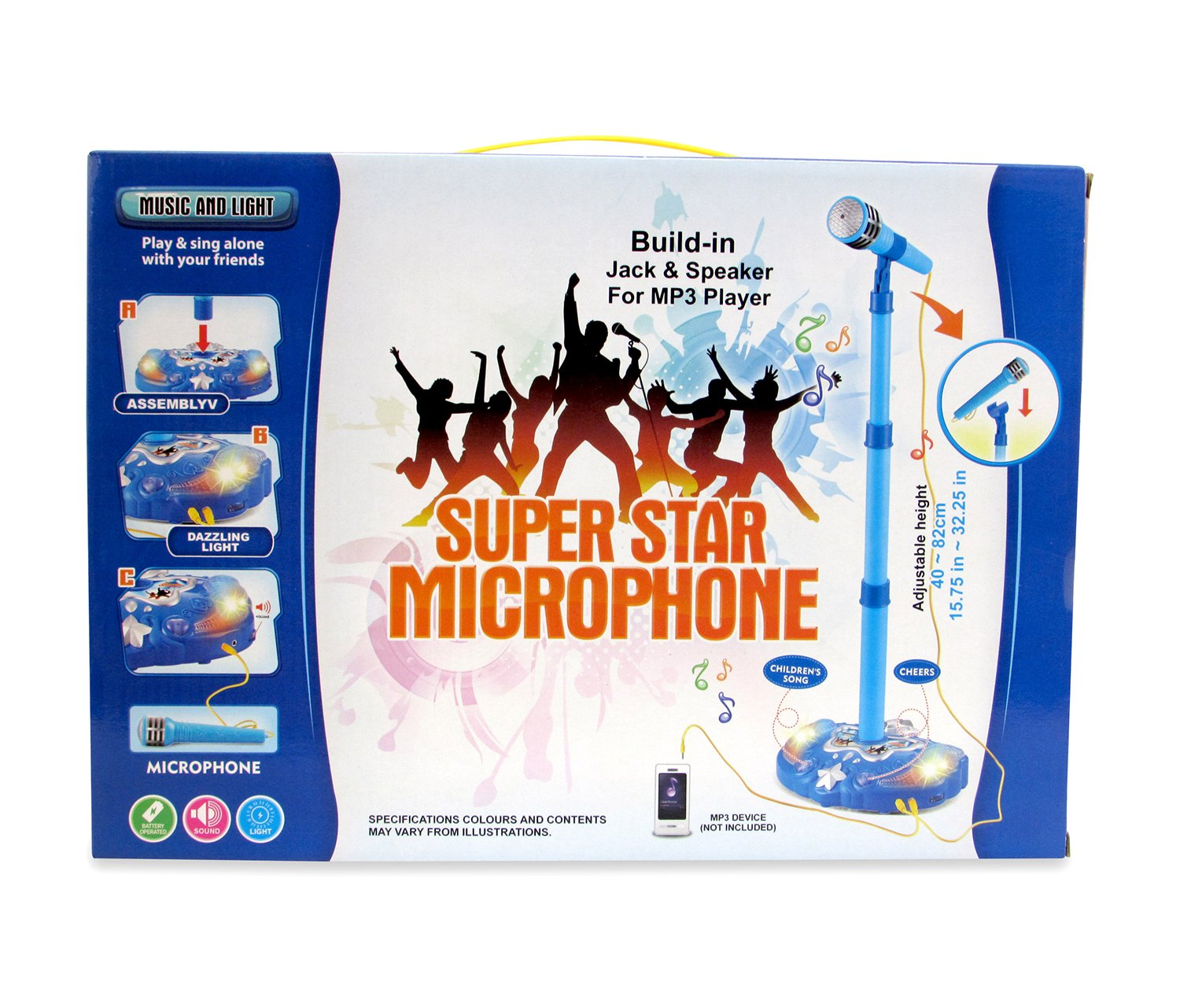 Mozlly Pink and Blue Children Karaoke Mic Set with Stand Music by Mozlly (Image #3)