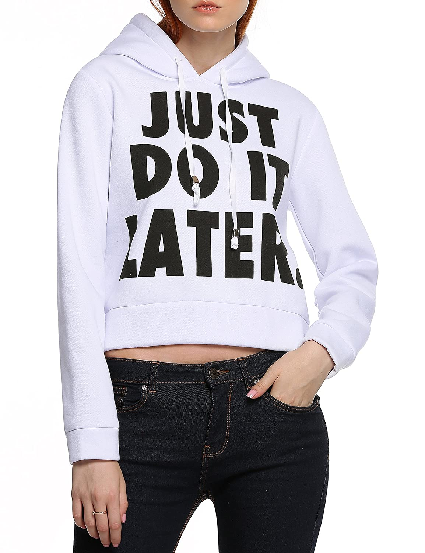 ACEVOG Women's Casual Long Sleeve Hoodie Print Sweatshirt Jacket Outwear Crop Tops