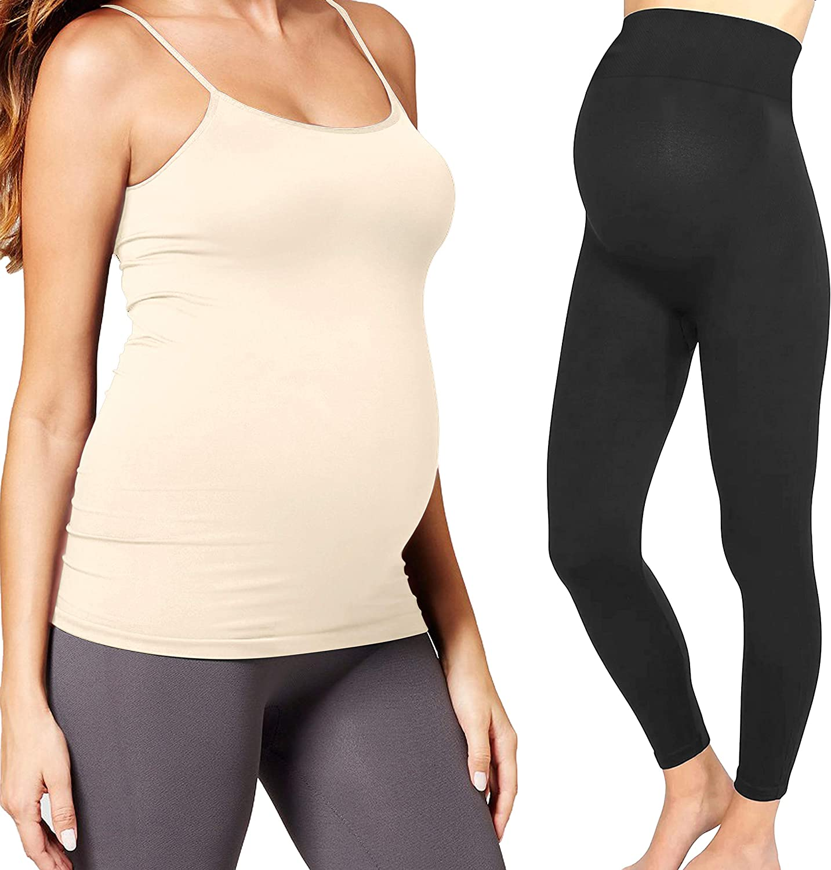 Maternity Leggings Tank Top Cami Set Pregnancy Maternity Clothes Over Bump