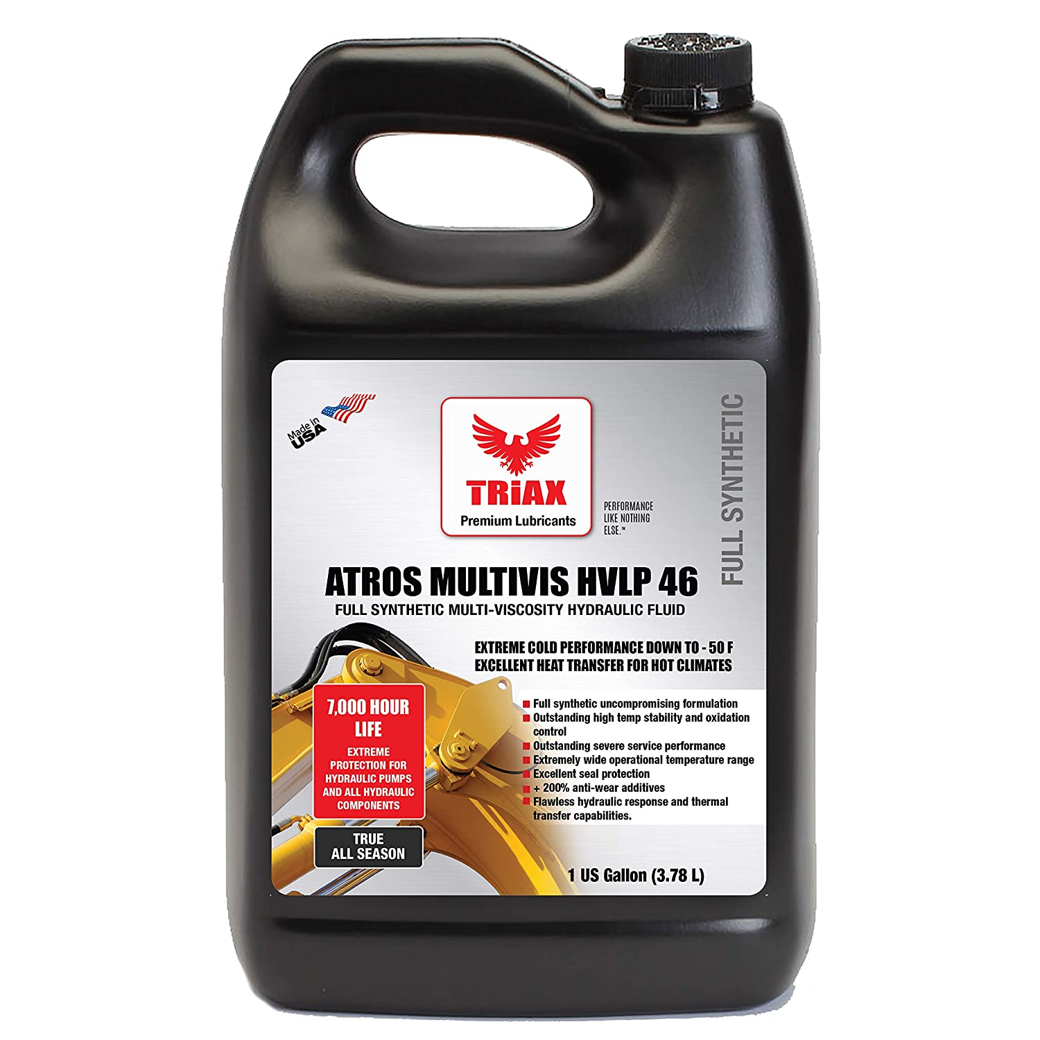 Triax ATROS Multi-VIS AW 46 Full Synthetic Hydraulic Oil - 300% ADDITIVE Anti-WEAR Boost, 7,000-10,000 Hour Life, Arctic Grade - 54 Cold Flow & HIGH Temp ...