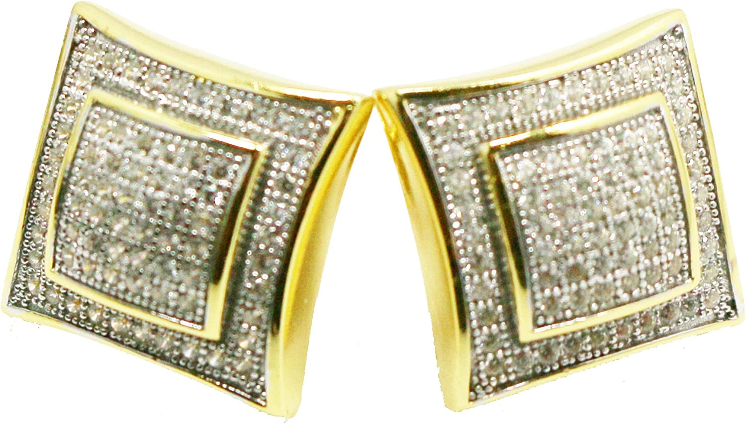 MEN LADIES SQUARE KITE STYLE GOLD FINISH EARRING STUD MICROPAVE 12 MM SCREW BACK