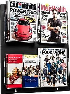 Adir Acrylic Brochure Holder Wall Mount - Adjustable Hanging Magazine Rack Literature & Brochure Holder for Home, Office, Waiting Room Display (20'' x 23'' Black)