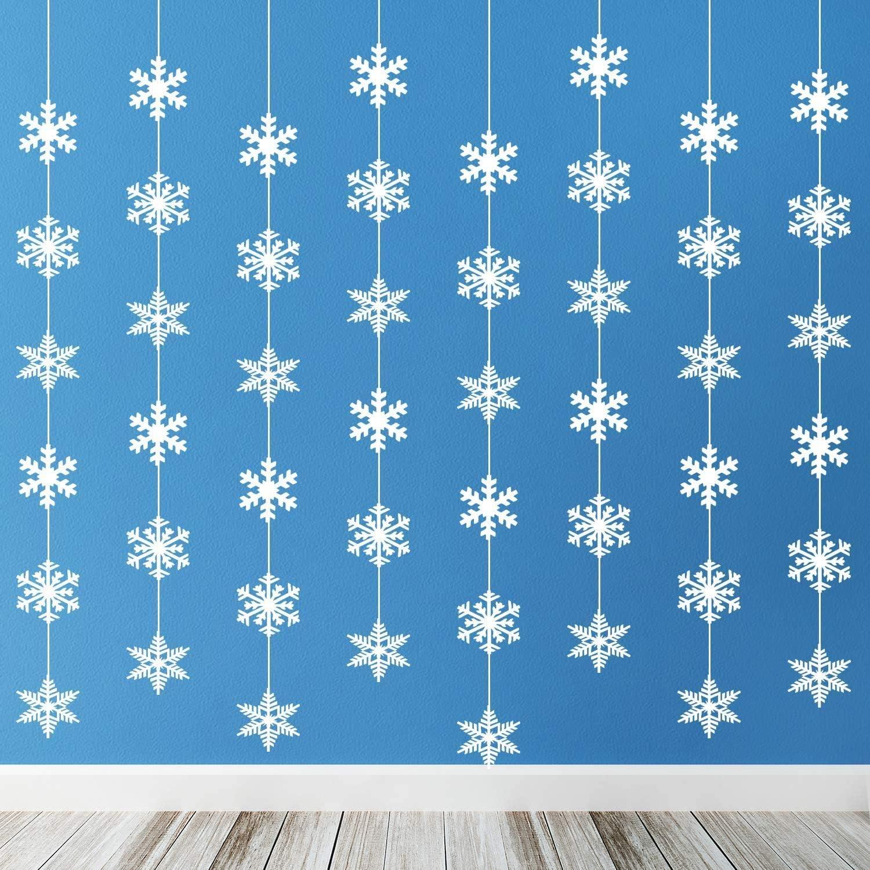 12 Pcs Christmas Snowflake Decorations Snowflake Garland - Paper Hanging Snowflakes Ornaments Decorations Winter Wonderland Christmas Party Decorations