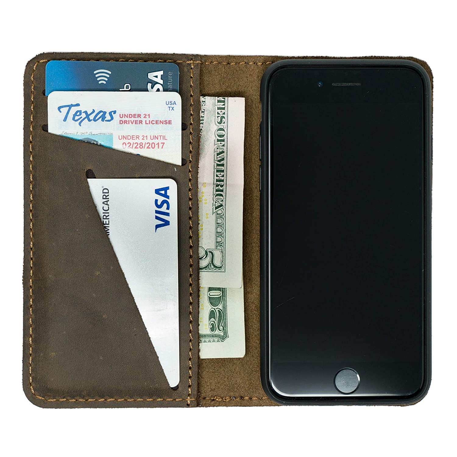 Distressed Leather Detachable iPhone X//XS Wallet Case PEGAI Leather Magnetic iPhone X//XS Wallet Folio McLean iPhone X//XS Mahogany Brown