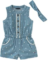 9e4da7c57c6c Amazon.com  Tommy Hilfiger Baby Girls  Anchor Print Chambray Romper ...