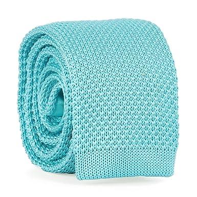 cravateSlim Corbata de Punto Azul Turquesa: Amazon.es: Ropa y ...