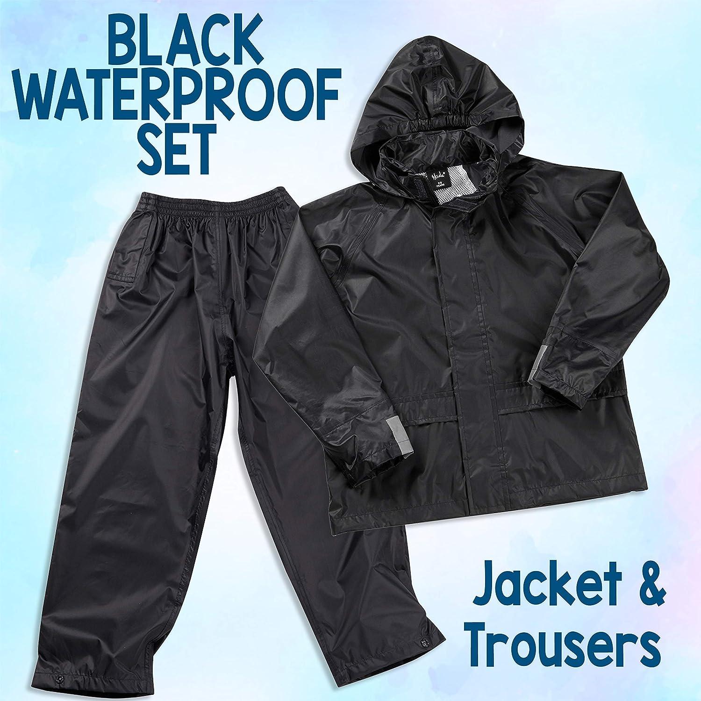 Metzuyan Kids Childrens Waterproof Suit Jacket /& Trousers Raincoat Outdoor Set Black Navy Age 3-10