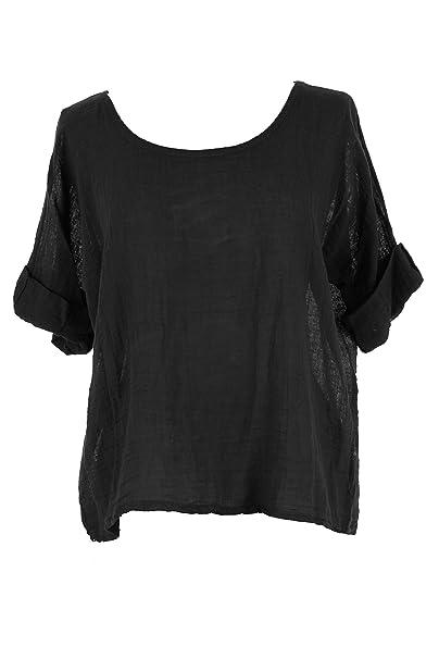 b928ff28963 TEXTURE Ladies Women Italian Lagenlook Plain Linen Cotton Crop Top Blouse  One Size Plus (Black, One Size): Amazon.co.uk: Clothing
