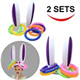 Inflatable Bunny Rabbit Ears Ring Toss Game(2 set &12 Rings), Inflatable Toss Game, Indoor and Outdoor Game for Easter Party Supplies