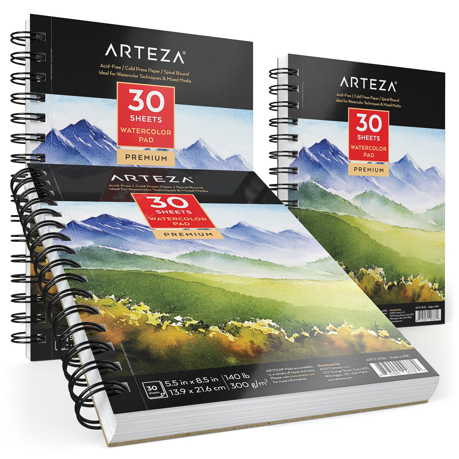 Arteza Watercolor Pad, 3 Pack, 5.5''X8.5'' Painting & Drawing Paper Sketchbooks, 90 Sheets Total, 140 lb./300gsm Cold Pressed Paper, Acid Free, Perfect for Wet, Dry & Mixed Media Painting by ARTEZA