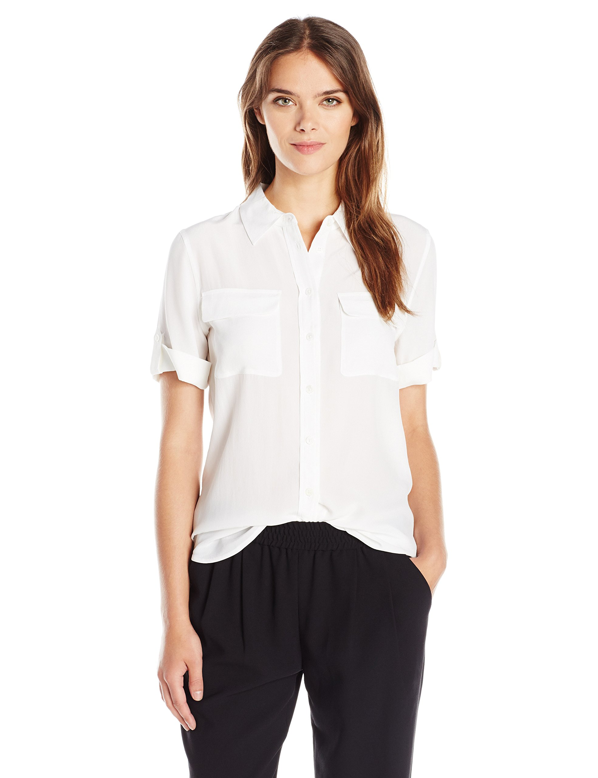 Equipment Women's Short Sleeve Slim Signature, Bright White, Medium
