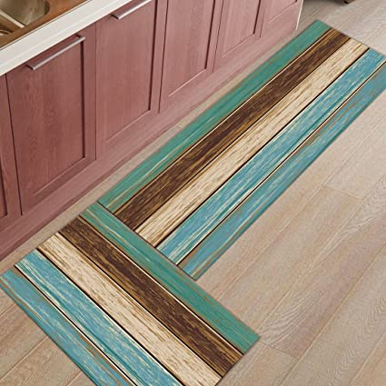 Kitchen Rug Mat Set Of 2 Piece Retro Rustic Wood Plank Inside Outside Entrance Rugs Runner Rug Home Decor 15 7x23 6in 15 7x47 2in