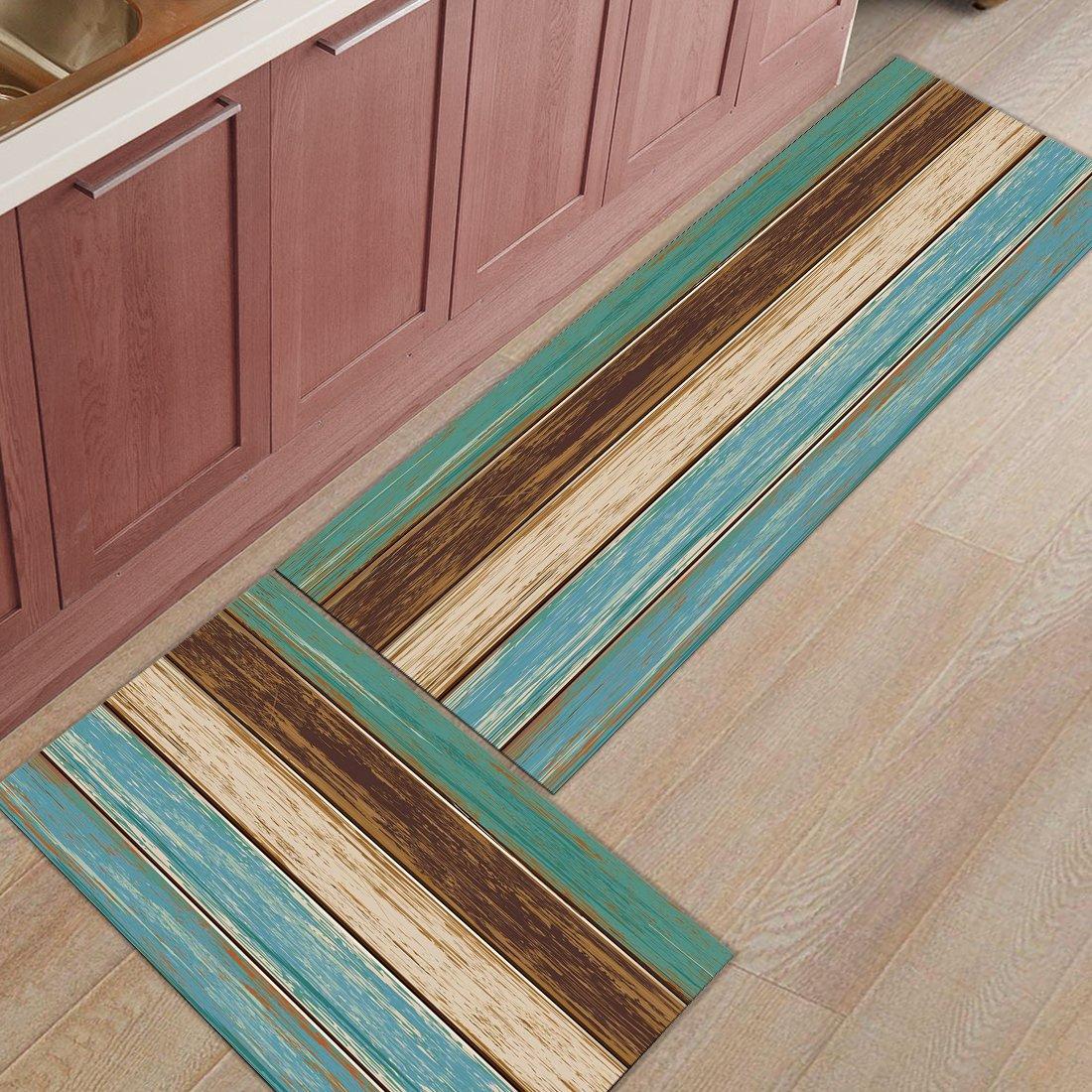Infinidesign 2 Piece Kitchen Rubber Backing Non-Slip Bath Rugs Runner Doormat Set - Wood Grain Runner Carpet Set - 23.6''x35.4''+23.6''x70.9''