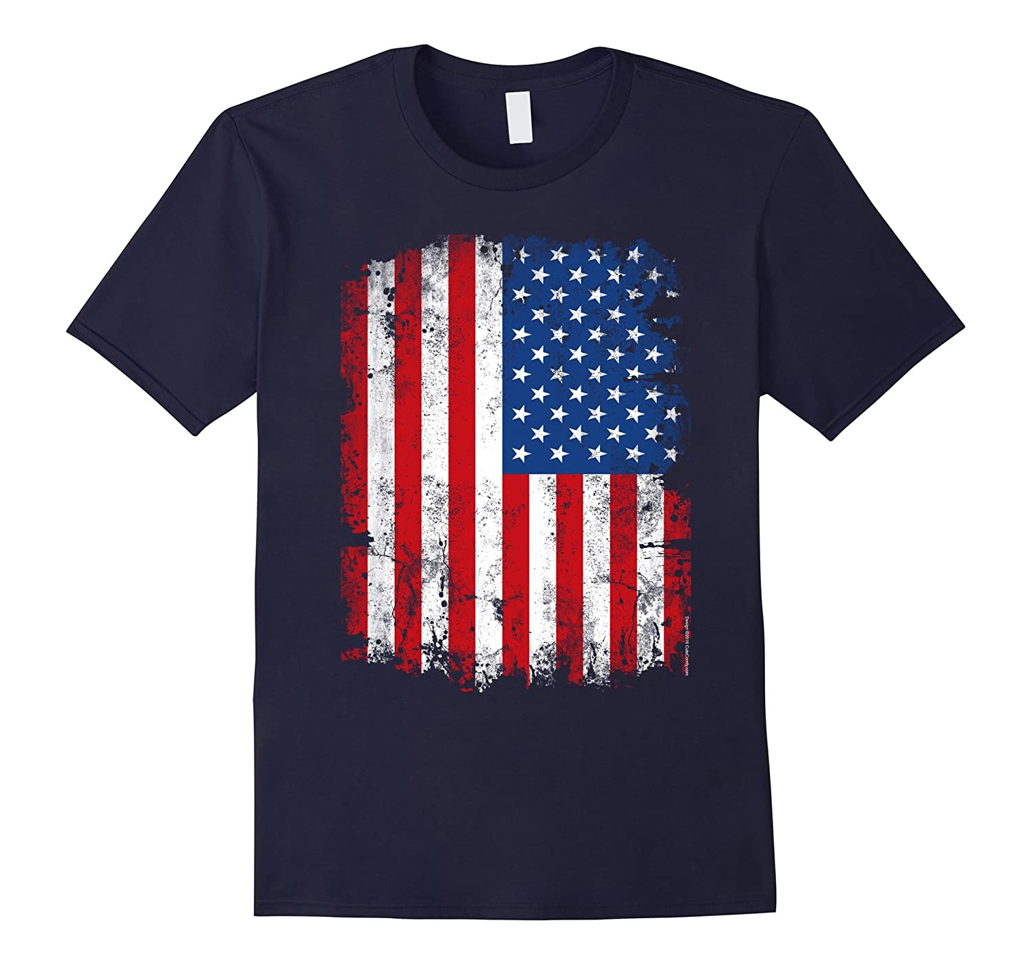 Vintage Patriotic American Flag 4th of July Family T-Shirt-PL