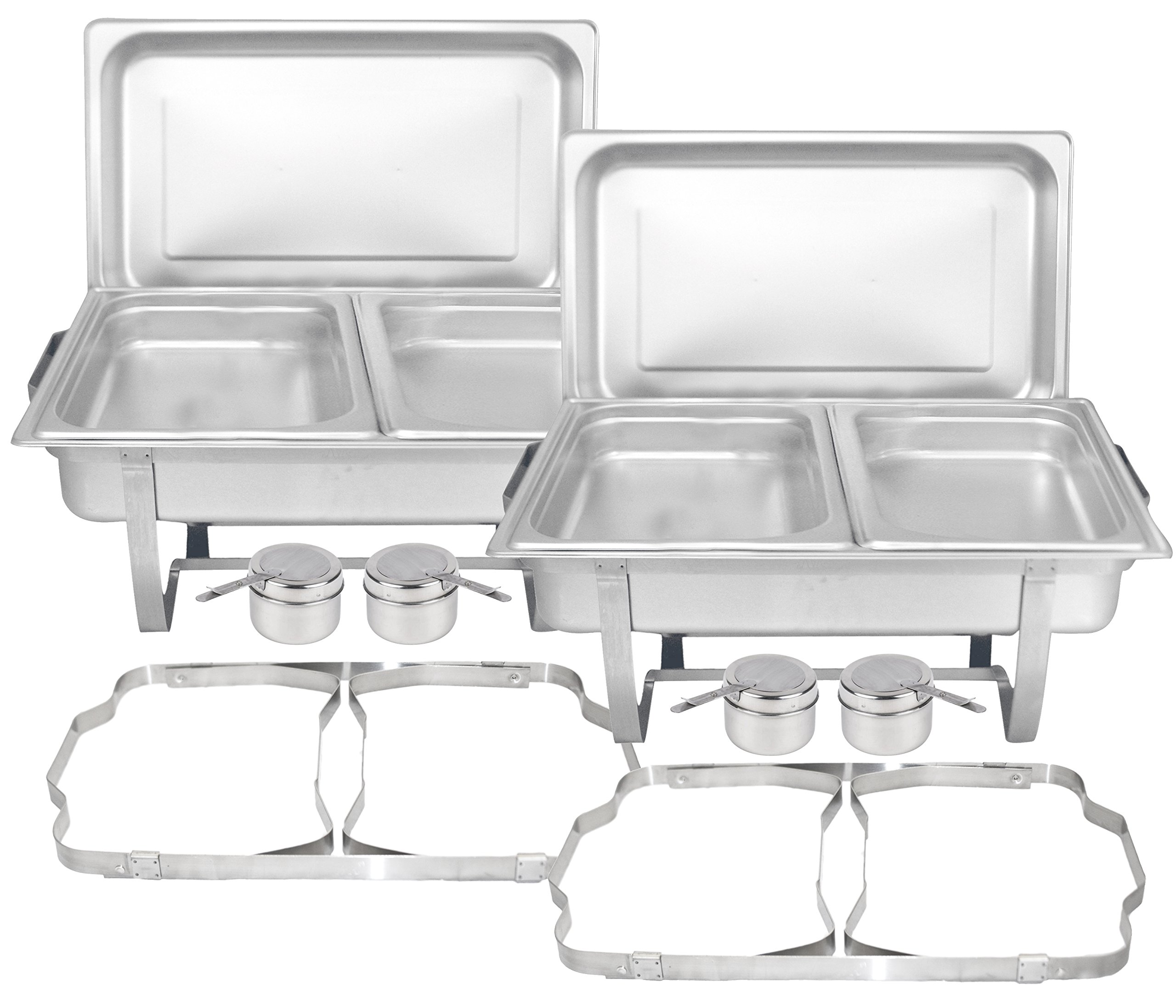 Tiger Chef 8 Quart Full Size Stainless Steel Chafer with Folding Frame and Cool-Touch Plastic on Top (2, Full Size with 1/2 Inserts)