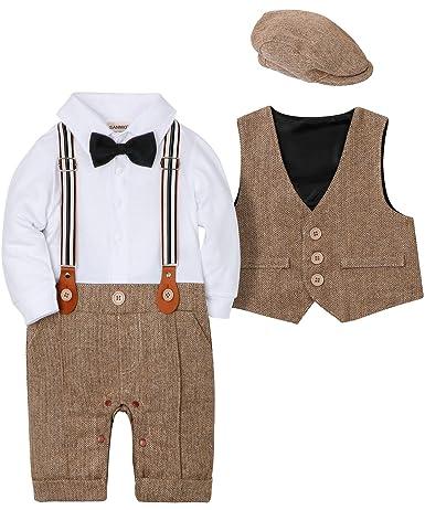 SANMIO Baby Jungen Bekleidungssets, 3tlg Strampler with Fliege + Weste + Hut Gentleman Anzug Langarm Baby Kleikind für Herbst