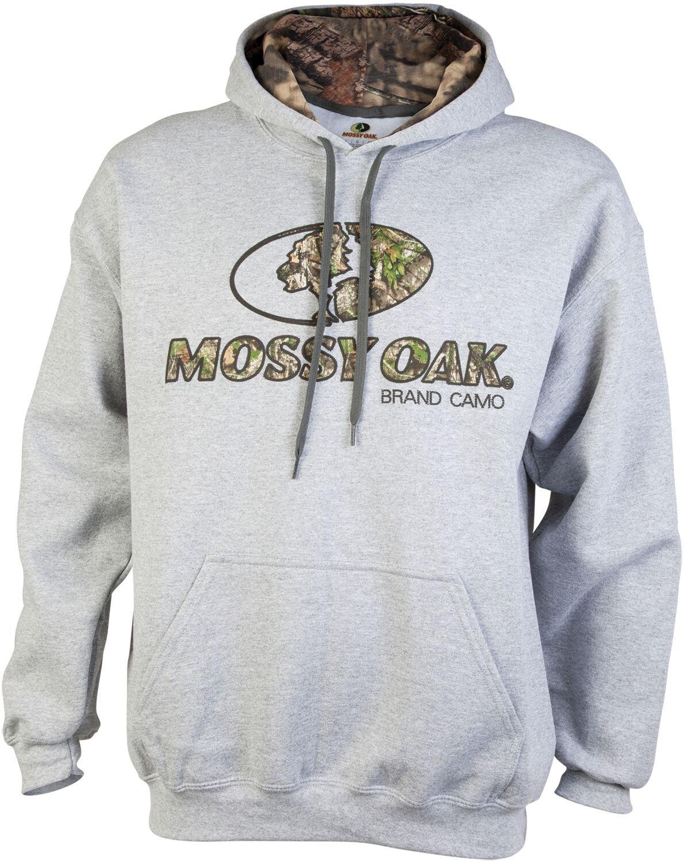 Mossy Oak Men's Printed Camo-Lined Hoodie, Sport Grey, XX-Large