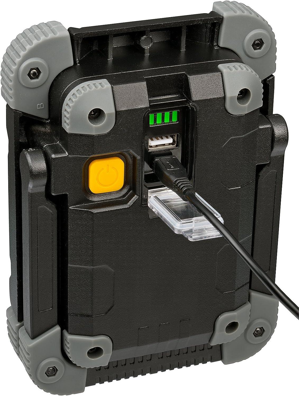 Brennenstuhl Projecteur LED Rechargeable 20W avec un Set de Fixation Magn/étique 2000 Lumen, utilisation en interieur et Ext/érieur IP54, 2 Modes Eclairage, Autonomie Max 6H Noir