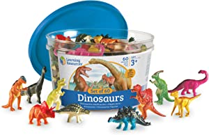 Learning Resources Dinosaur Counters, Set of 60 Colored Dinosaurs, Fine Motor Toy, Ages 3+
