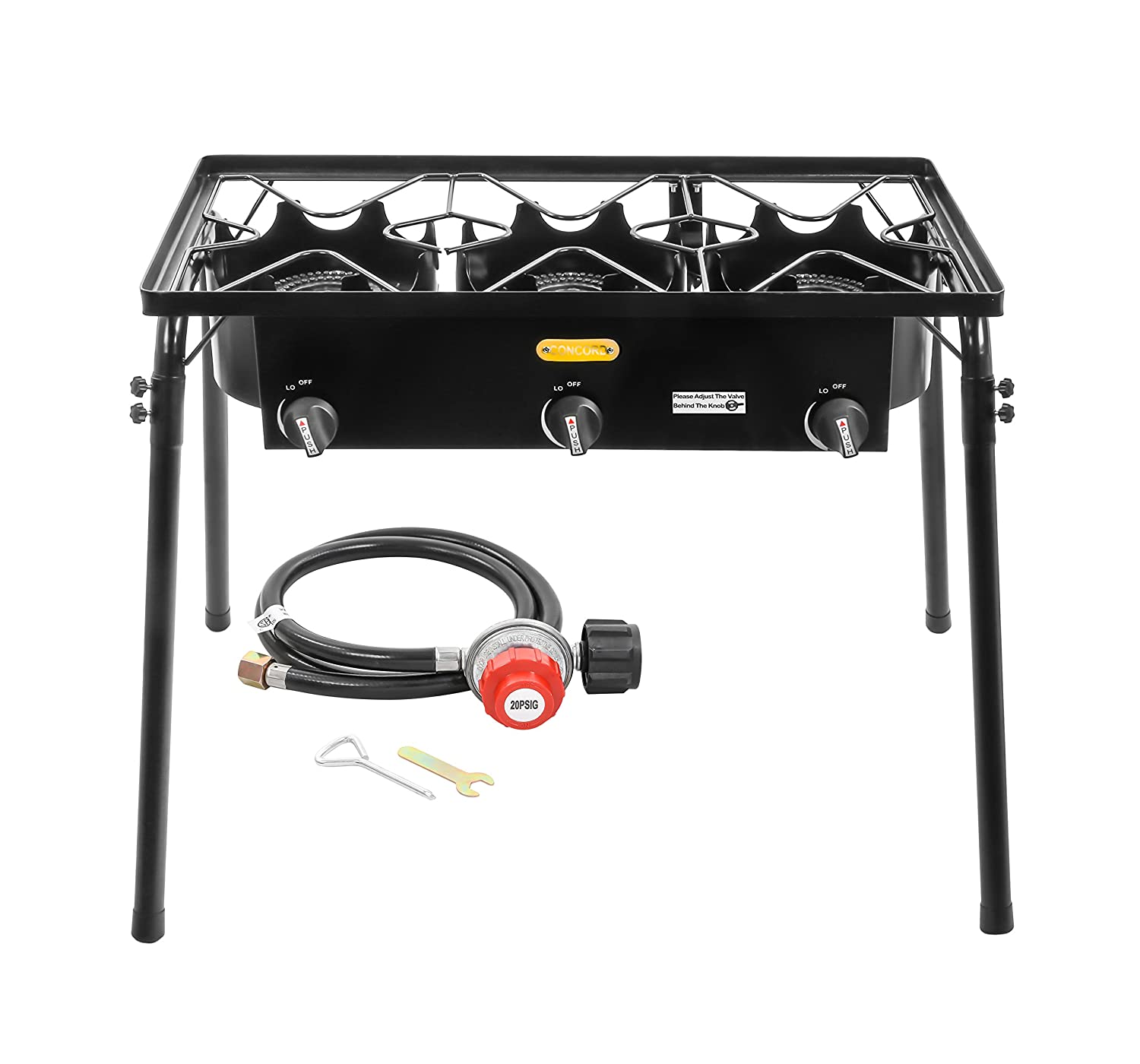 CONCORD Triple Burner Outdoor Stand Stove Cooker w/ Regulator Brewing Supply