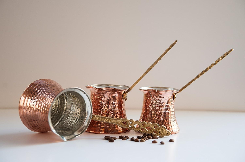 3x Turkish Traditional Copper Espresso & Coffee Pot, Jezve, Coffee Maker Set of 3