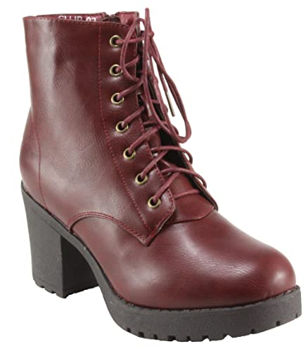Women's Club-02 Round Toe Lug-Sole Lace-up Platform Block Heel Ankle Boots
