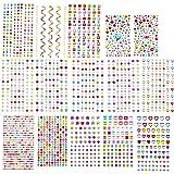 EKKONG 15 Hojas 2081 Piezas Diamantes Autoadhesivas,Pegatinas de Diamantes de Imitación,Pegatinas Brillantes, Adhesivas…